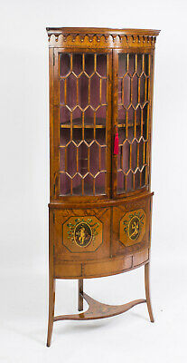 Antique English Edwardian Satinwood Corner Display Cabinet c.1890