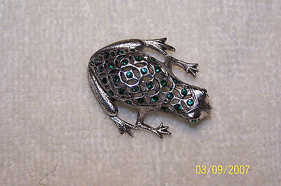 Pave Frog Pin Finished with Swarovski Emerald Crystals
