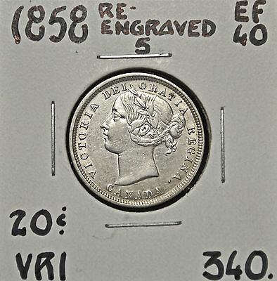 1858 Re.5 Canada 20 Cents EF-40