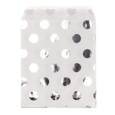 Silver Metallic Polka Dots On White Paper Sweet Bags X25 Retro Sweet Shop