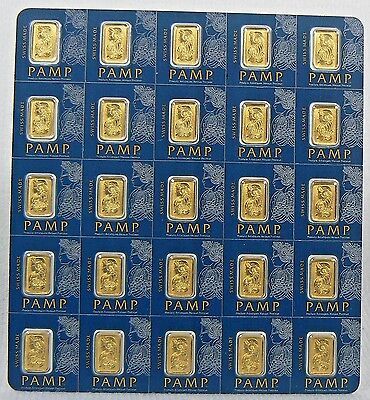 2 x 1 GRAM PAMP SUISSE MultiGram GOLD BARS .9999 PURE