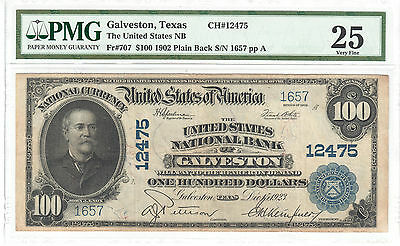 $100 1902 The United States National Bank Galveston TX Fr#707 PMG VF25 CH#12475