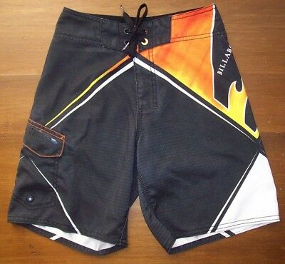 EUC Billabong Boys Swim Trunks Swimsuit Board Shorts 22 Small S 6 7 Black Flames