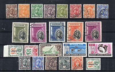 Zanzibar Selection Of 24. Some Mnh, Some Unused Hinged, And Postally Used Stamps