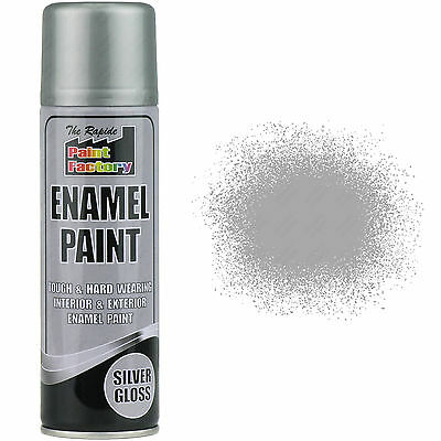 1 x Enamel Silver Gloss Paint Spray Aerosol 400ml Radiator Metal Wood Etc. Tough