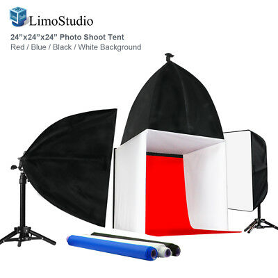 """Table Top Lighting Kit w/ 24"""" Photo Tent Color Backgrounds Soft Box Light Stands"""