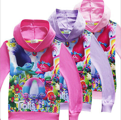 New Kids Girls Poppy Trolls  Hoodies Jumper Pullover Sweatshirts Hoodies Costume