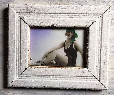 """1890's Reclaimed Wood Picture Frame 5"""" x 7"""" Shabby Wooden Chic White 441-17"""