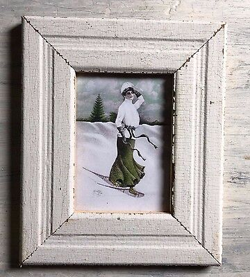 """1890's Reclaimed Wood Picture Frame 5"""" x 7"""" Shabby Wooden Chic White 442-17"""