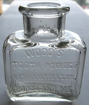 Antique WOOD'S TOOTH POWDER dental bottle For The TEETH / Excellent condition!