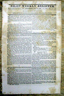 1833 newspaper w THOMAS JEFFERSON letter Opinion NATIVE AMERICAN INDIAN REMOVAL