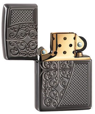 Zippo Choice Engraved Armor Old Royal Filigree WindProof Lighter Black Ice 29498
