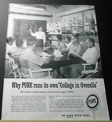 """1958 PURE OIL runs its own """"College in Overalls"""" Smiths Bluff Refinery print Ad"""