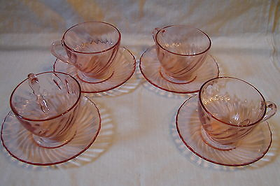 Vintage Arcoroc France Pink Swirl Glass Rosaline SET OF 4 Cup and Saucer Sets