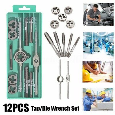12Pcs Metric Tap Wrench and Die Pro Set M3-M12 Nut Bolt Alloy Metal Hand Tools