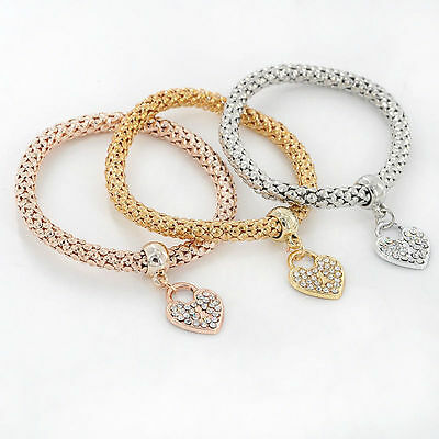 Elegant Women 3Pcs Gold Silver Rose Gold Bracelets Set Rhinestone Bangle Jewelry