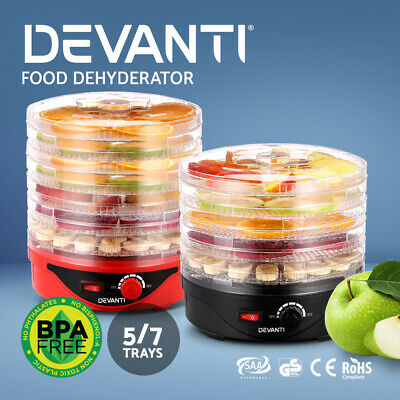 DEVANTI 5/ 7 Trays Food Dehydrators Jerky Dryer Healthy Maker Fruit Preserver