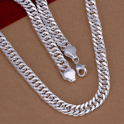 Classic 925 Sterling Silver Filled Solid Curb Link Woman Man Chain Necklace N320