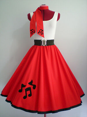 "ROCK N ROLL/ROCKABILLY ""Music Notes"" SKIRT-SCARF L-XL Red."