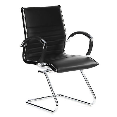 CONFERENCE CHAIR MEETING ROOM CANTILEVER STOOL PARMA V LEATHER CHROME hjh OFFICE