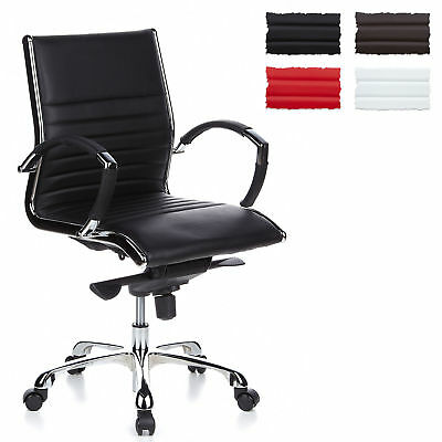 LUXURY OFFICE CHAIR SWIVEL DESK FURNITURE WOW PARMA 10 LEATHER CHROME hjh OFFICE