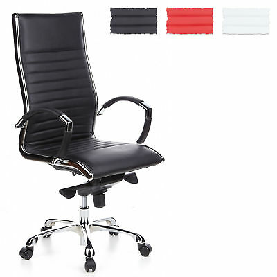 LUXURY OFFICE CHAIR SWIVEL DESK FURNITURE WOW PARMA 20 LEATHER CHROME hjh OFFICE