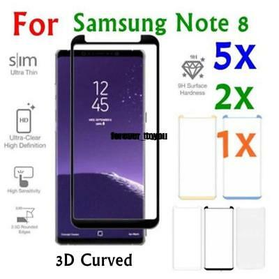 1X 2X 5X Tempered Glass 9H Full Cover Screen Protector For Samsung Note 8 Lot