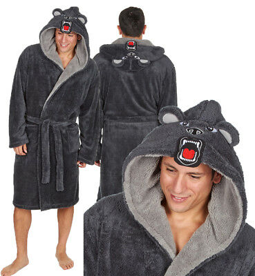"""""""Michael Paul"""" Mens Hooded Soft&Cosy Novelty Animal Fleece Dressing Gown Robe"""