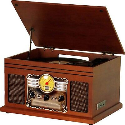 Vintage Turntable Record Player Retro Vinyl LP Bluetooth USB CD Player Cassette