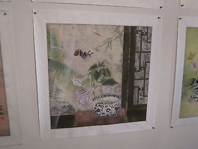 Vintage Chinese Water-color on Rice Paper, matted on silk, artist signed [7]