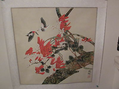 Vintage Chinese Water-color on Rice Paper, matted on silk, artist signed [4]