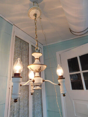 old vintage antique art deco tole french country chandelier ceiling fixture lamp