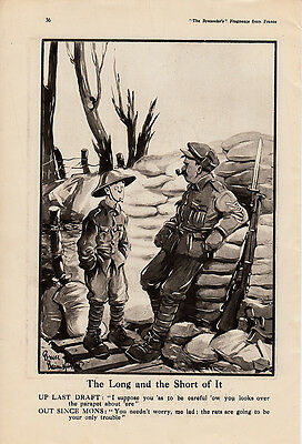 """original ww1 illustration of an old bill scene . """" the long and short of it   """""""
