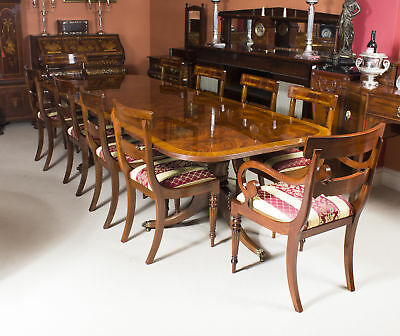Flame Mahogany 10ft Regency Style Dining Table & 10 Chairs