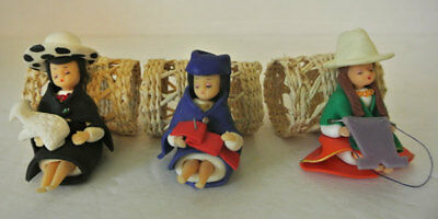 3 Vintage HAND MADE Polymer Clay DOLL Figurine Figure Cloth Napkin Rings Holders