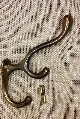 Triple Coat Hook old school house heavy brass iron vintage clothes hanger tree