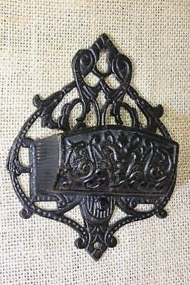 Match Safe Striker vintage 1800's old paint Victorian cast iron ferns