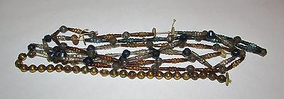 Vintage Unique  Mercury Glass Beaded Christmas Garland 6 Feet AS IS Blue Gold