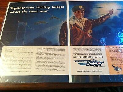Vintage 1943 Bendix  Aviation Building Bridges B-17 Pilot Two Page WW II Art ad