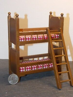 Dollhouse Miniature Walnut Double Bed 1:12  one inch scale B  H2 Dollys Gallery