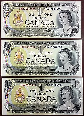 Lot of 3 Consecutive UNC 1973 Canada $1 Notes, Crow-Bouey, Prefix BAM, BC-46b