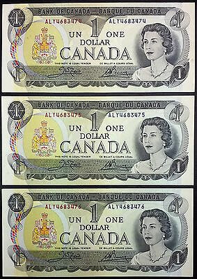 Lot of 3 Consecutive UNC 1973 Canada $1 Notes, Crow-Bouey, Prefix ALY, BC-46b