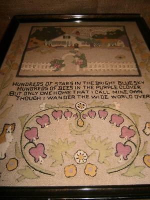 "1930's Gorgeous Hand Made SAMPLER Framed under glass ""Beautifully Done"""