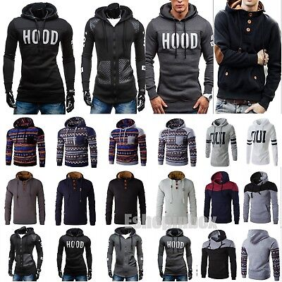 Men's Winter Hooded Sweatshirt Pullover Hoodie Jacket Warm Coat Outwear Sweater