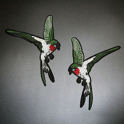 2stk Vogel Bird Stickerei Spitze Aufnäher Aufbügler Applikation Iron on Patch