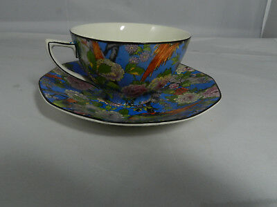 CROWN DUCAL Blue Chintz Exotic Bird  Cup & Saucer  Black Rim
