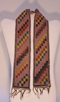 "Antique Great Lakes Indian Beaded Sash / Strip  - c. 1890 24"" x 2 3/8"