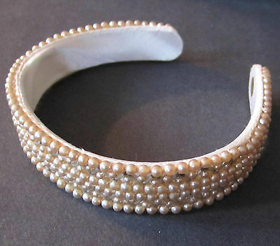 Gorgeous Vintage Pearl Studded Hair Band 50-60's Era Estate Truly Regal Japan