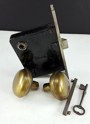 Antique Russwin Mortise Lock Deadbolt Key Brass Door Knob Set Hardware