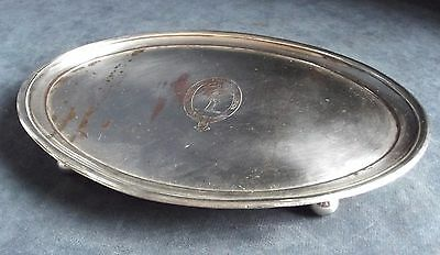 """RARE Large 10"""" ~ GEORGIAN Family CRESTED ~ Sheffield Plate ~ Salver TRAY ~ c1790"""